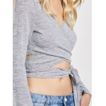 Deep V Neck Cropped Wrap Top photo