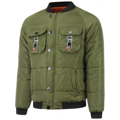 Embroidered Patch Pocket Zip Up Padded Jacket