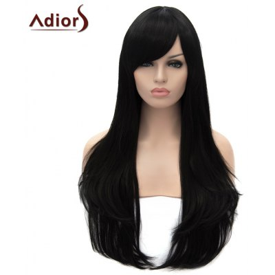 Adiors Long Oblique Bang Slightly Curled Cosplay Synthetic Wig