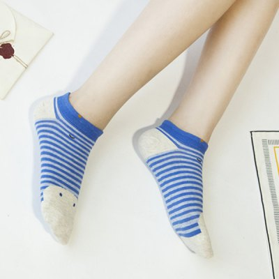2 Pairs of Cartoon Hippo Stripe Cotton Blend Ankle Socks