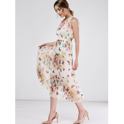 High Waist Sleeveless Print Chiffon Dress