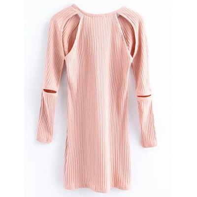 Cut Out Long Sleeve Ribbed Jumper Dress