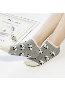 2 Pairs of Cartoon Panda Patterned Cotton Blend Short Ankle Socks