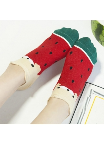 2 Pairs of Watermelon Patterned Cotton Blend Ankle Socks