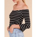 Striped Flare Sleeve Off The Shoulder T-Shirt deal