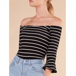 cheap Striped Flare Sleeve Off The Shoulder T-Shirt