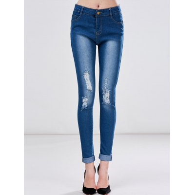 High Waist Skinny Ripped Jeans