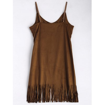 Suede Fringe Cami Dress