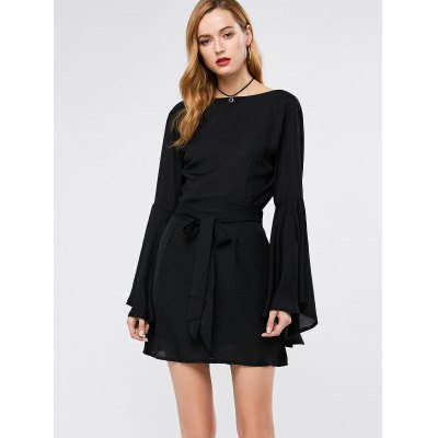 Flare Sleeve Backless A Line Dress