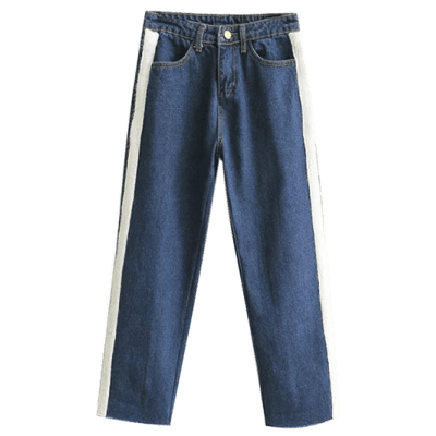Applique Wide Leg Raw Hem Jeans