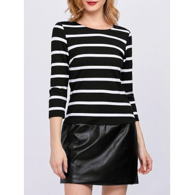 Stripe Faux Leather Panel Mini Dress