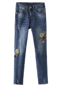Floral Frayed Embroidered Jeans