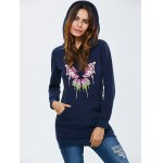 Hooded Embroidered Long Sweatshirt with Pocket