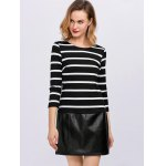 cheap Stripe Faux Leather Panel Mini Dress