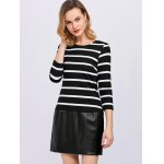 Stripe Faux Leather Panel Mini Dress deal