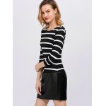 Stripe Faux Leather Panel Mini Dress for sale