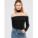 cheap Off The Shoulder Ribbed Tee