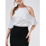 Spaghetti Strap Cold Shoulder Chiffon Blouse