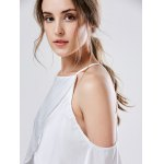 best Spaghetti Strap Cold Shoulder Chiffon Blouse