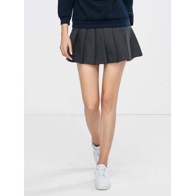 Wool Blend Mini Pleated Skirt