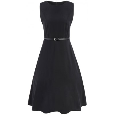 Sleeveless Midi Swing Dress With Belt