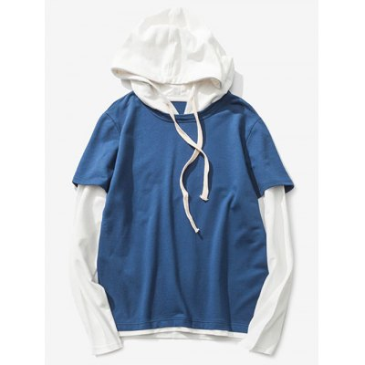 Drawstring Two Tone Pullover Hoodie