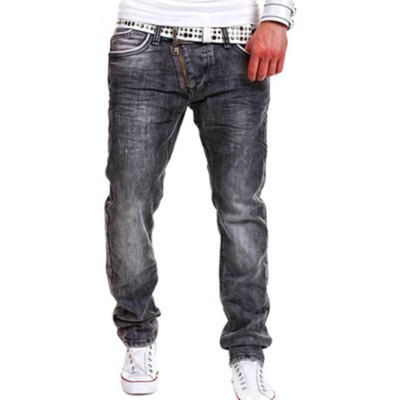 Faded Design Zip Fly Straight Leg Jeans