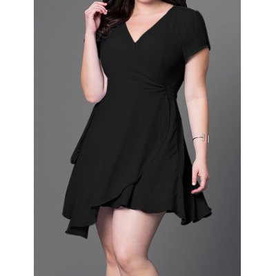 V Neck Asymmetric Mini Dress