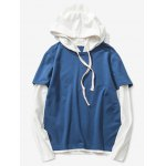 Buy Deep blue Drawstring Two Tone Pullover Hoodie-24.35 Online Shopping GearBest.com