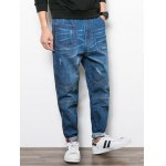 cheap Multi Pocket Scratched Loose Jeans