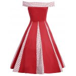 Vintage Polka Dot Insert High Waist Dress