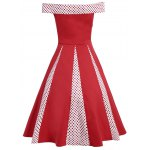 cheap Vintage Polka Dot Insert High Waist Dress