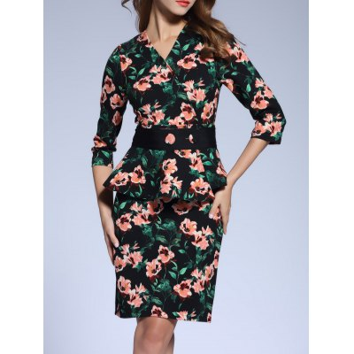 Floral Fitted Peplum Dress