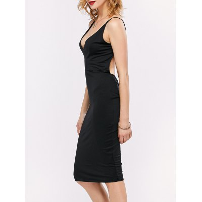 Ruched Backless Bodycon скольжению платье