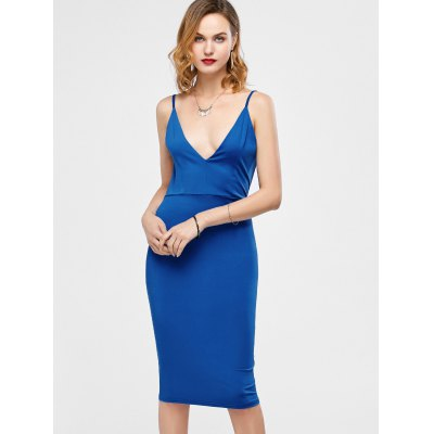 Backless Ruched Bodycon Knee Length Club Slip Dress