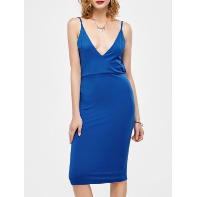 Open Back Ruched Slip Bodycon Club Dress