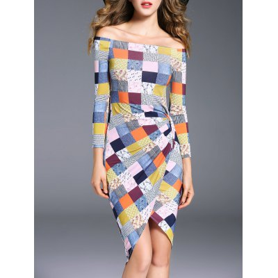 Off The Shoulder Asymmetric Checked Dress
