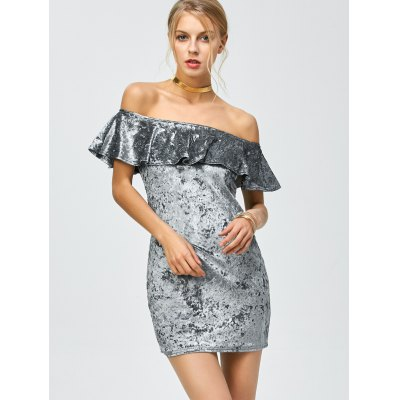 Off The Shoulder Velvet Mini Overlay Dress
