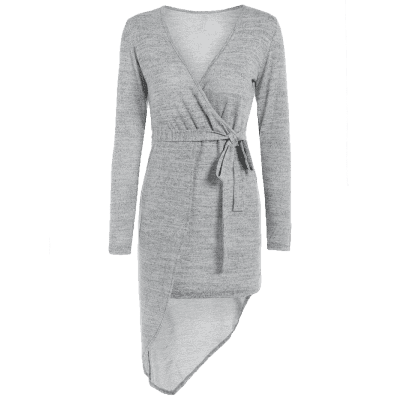 Long Sleeve Crossover Knit Dress