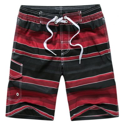 Color Block Striped Panel Print Board Red Shorts
