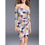 cheap Off The Shoulder Asymmetric Checked Dress