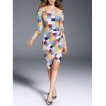 Off The Shoulder Asymmetric Checked Dress deal
