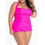 cheap Plus Size Halter Ruched Tankini Set