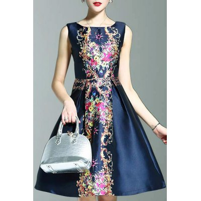 Round Neck Sleeveless Elegant Printed Dress