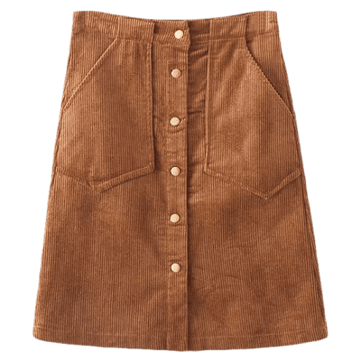 Single Breasted High Waist A-Line Skirt With Pockets