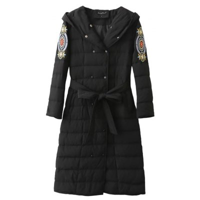 Double Breasted Embroidered Puffer Coat