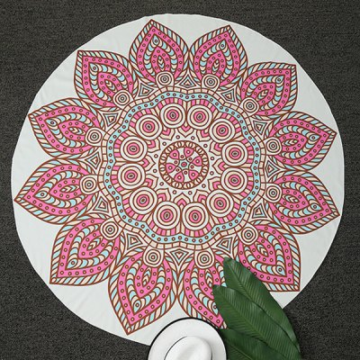 Ethnic Style Flower Shape Round Beach Throw