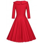 cheap Pleated Color Block A Line Dress