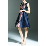 Stylish Round Neck Sleeveless Elegant Printed Women's Dress for sale