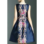 cheap Stylish Round Neck Sleeveless Elegant Printed Women's Dress